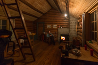 The cosy cabin at night