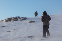 On our way to Brosmetinden in strong wind and blowing snow