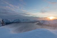 Blowing snow and sunset from the top