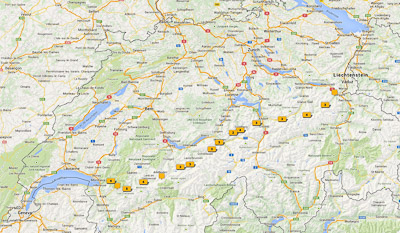 Map of my hiking trip through Switzerlands: From Sargans to Montreux