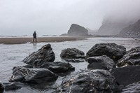 The Strangles Beach, in heavy fog and drizzle