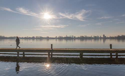 The jetty at the Kralingse Plas - I love the view towards Rotterdam from here