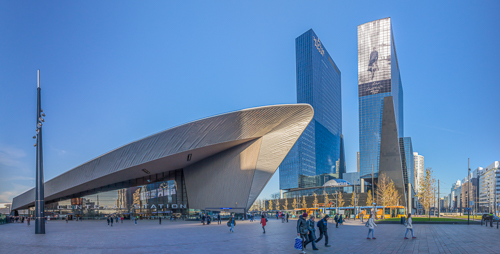 Panorama of the very cool train station in Rotterdam