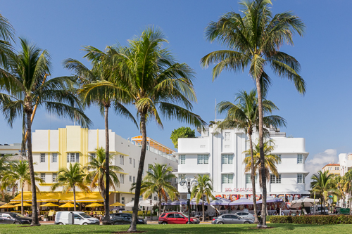 Art Deco hotels along Ocean Drive in Miami Beach