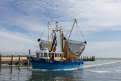 A shrimp boat coming back from the sea