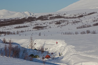 A school class was camping near Nonsbu, digging snow holes to sleep in...