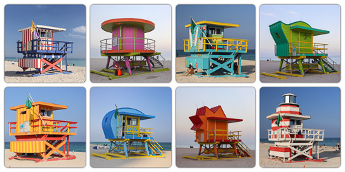 The amazing art deco lifeguard huts at Miami Beach