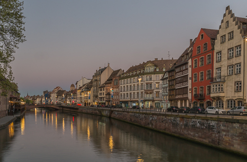One of the canals in Strasbourg in the late evening