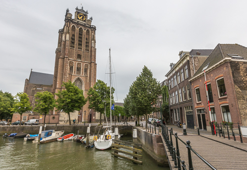 The church and part of the harbour in Dordrecht