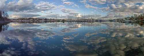 Panorama of impressive cloud reflections
