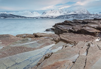 Beautiful rock formations, with view towards Lyngen