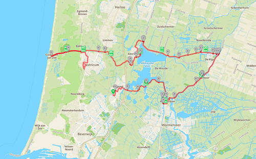 Map of our cycling trip