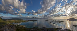 Panorama looking at Sommarøy (far right) and Brensholem (on the left)