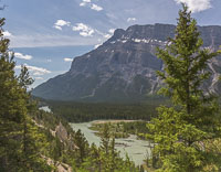 View of the hoodoos and the Bow River