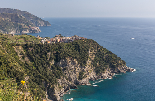 Spectacular views from the walk, Corniglia on the cliff and Manarola in the distance