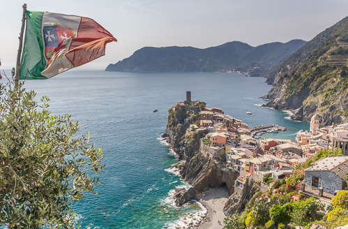 Vernazza and Italian flag