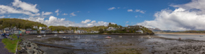 Panorama of Borth-y-Gest, with lots of rain showers around...