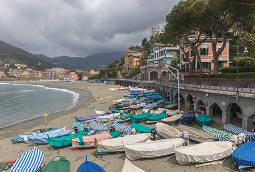 Colourful boats on the beach at Levanto