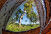 This tent has only one layer, one of the advantages is that it can have little windows!