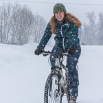 Cycling in heavy snow