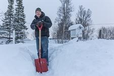 Gunnar ready to shovel some snow