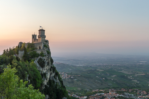 The First Tower (or Guaita fortress) at sunset