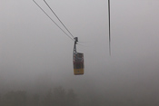 Descending into the mist with the cable car