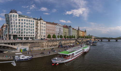 River panorama, with the very cool Dancing House on the left
