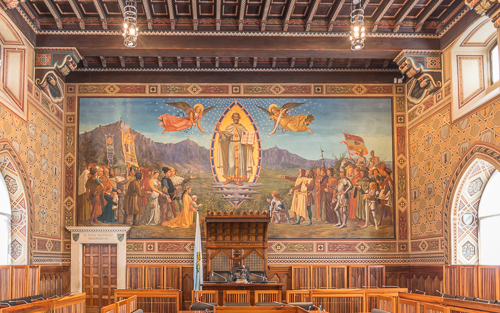 The incredibly beautiful Chamber of the Grand and General Council in Palazzo Publico (the town hall)