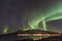 Northern lights over Skulsfjord, with LOTS of stars - even the Milky Way was visible
