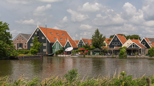 The typical green wooden houses of this region
