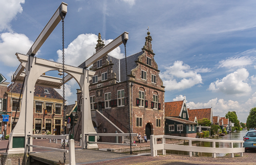 The town hall and the bridge at De Rijp