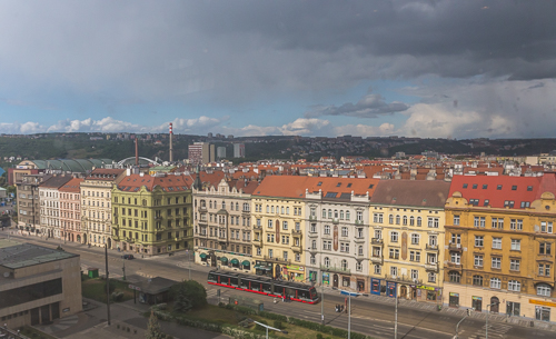 Nice view from the top floor of the Veletržní palác