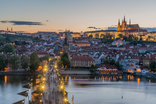 The Charles Bridge and Castle at night