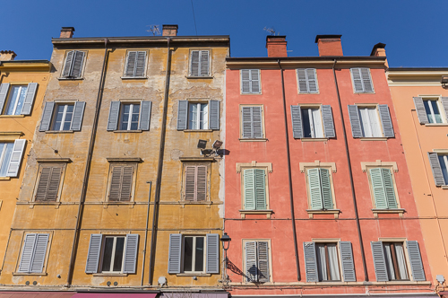 Colourful houses in Modena