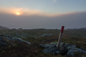 Entering the fog, last view of the sun. Very thankful for the well-marked route!