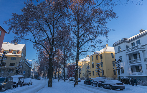 The snowy streets of Oslo