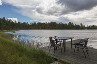 Nice place to sit - pity most places on the lake are private! Rain showers were approaching here...