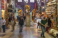 The Grand Bazaar, with on the right tea being delivered to one of the salesmen
