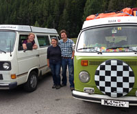 Meeting fellow VW travellers - this couple had taken their van from Switzerland to New York and were travelling for a whole year