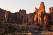 A scenic part of the road through the park, at sunset