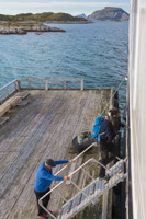 Passengers coming on board at Risøya, on a steep ladder - notice that the guy in front has to carry his dog on his shoulders!