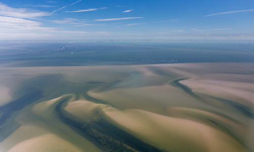 The amazing Wadden Sea with lots of sand banks showing up at low tide