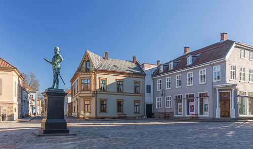 The deserted old town of Fredrikstad on a Saturday morning