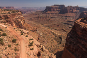 Parts of the 100 mile long White Rim Road in Canyonlands