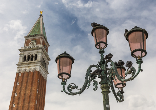 The bell tower of St Mark's Basilica on Piazza San Marco