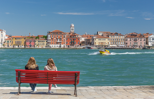 Looking towards the main island from Giudecca - the boat passing is an ambulance!