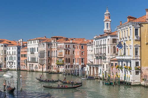 Views along the Canal Grande from the Rialto Bridge in Venice