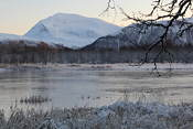 Tromsdalstinden and Prestvannet on a beautiful winter's day