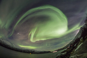 Even the fisheye lens wasn't wide enough for capturing the bright active aurora